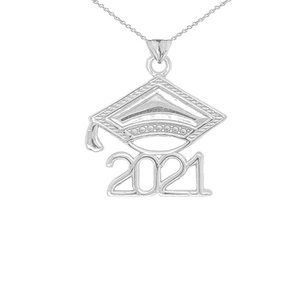 Real Silver Class of 2021 Graduation Cap Necklace